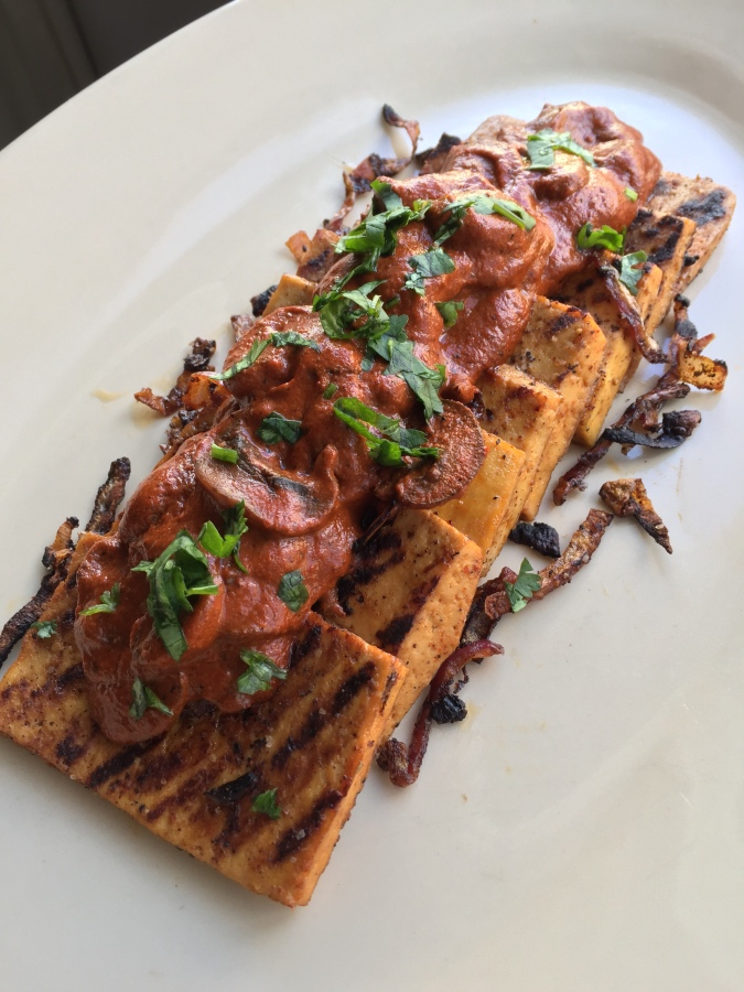Guajillo Chile Cream Sauce with Mushrooms and Grilled Tofu Steaks