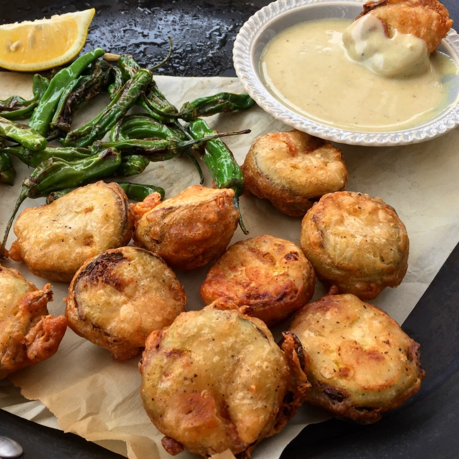 Beer Battered Brussels Sprouts with Maple Dijon Sauce